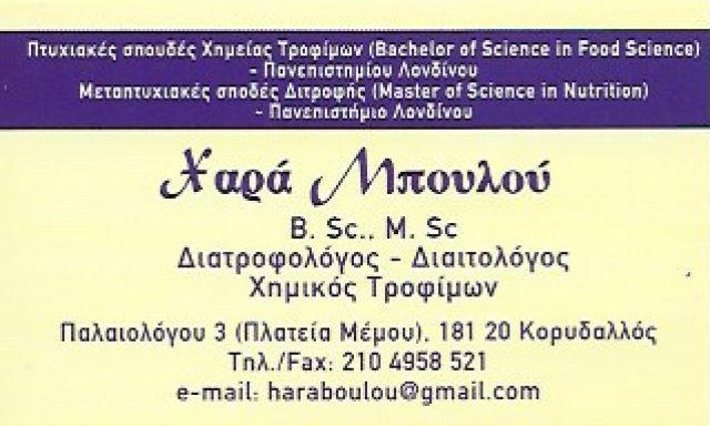 ΔΙΑΙΤΟΛΟΓΙΚΟ ΚΕΝΤΡΟ ΜΠΟΥΛΟΥ ΧΑΡΑ